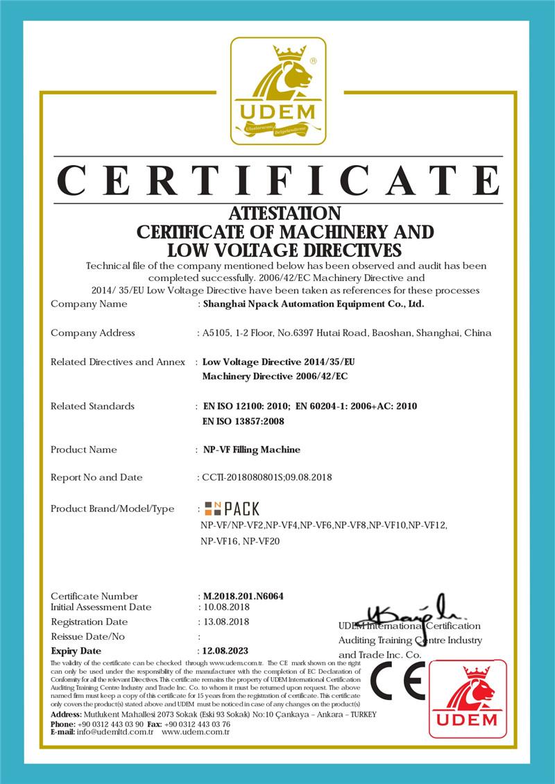 CE-Zertifikat der Abfüllmaschine