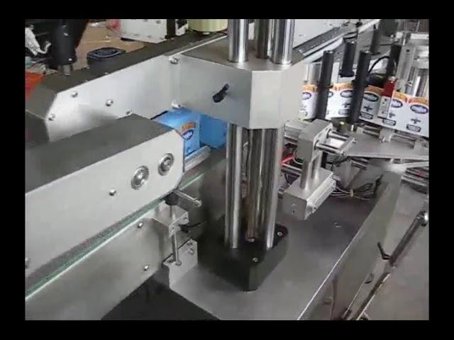 automatische Doppelseiten-Flaschenaufkleber-Etikettiermaschine für runde Flaschen